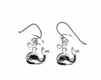 Whale Earrings in Sterling Silver - Nautical Jewelry - Beach