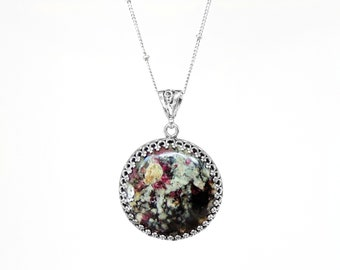 Ruby Eudalite Necklace in Sterling Silver - Real Natural Eudalite Jewelry