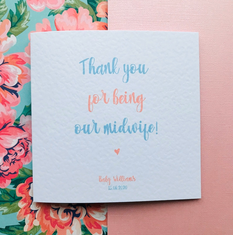 thank you for being our midwife new baby card  etsy