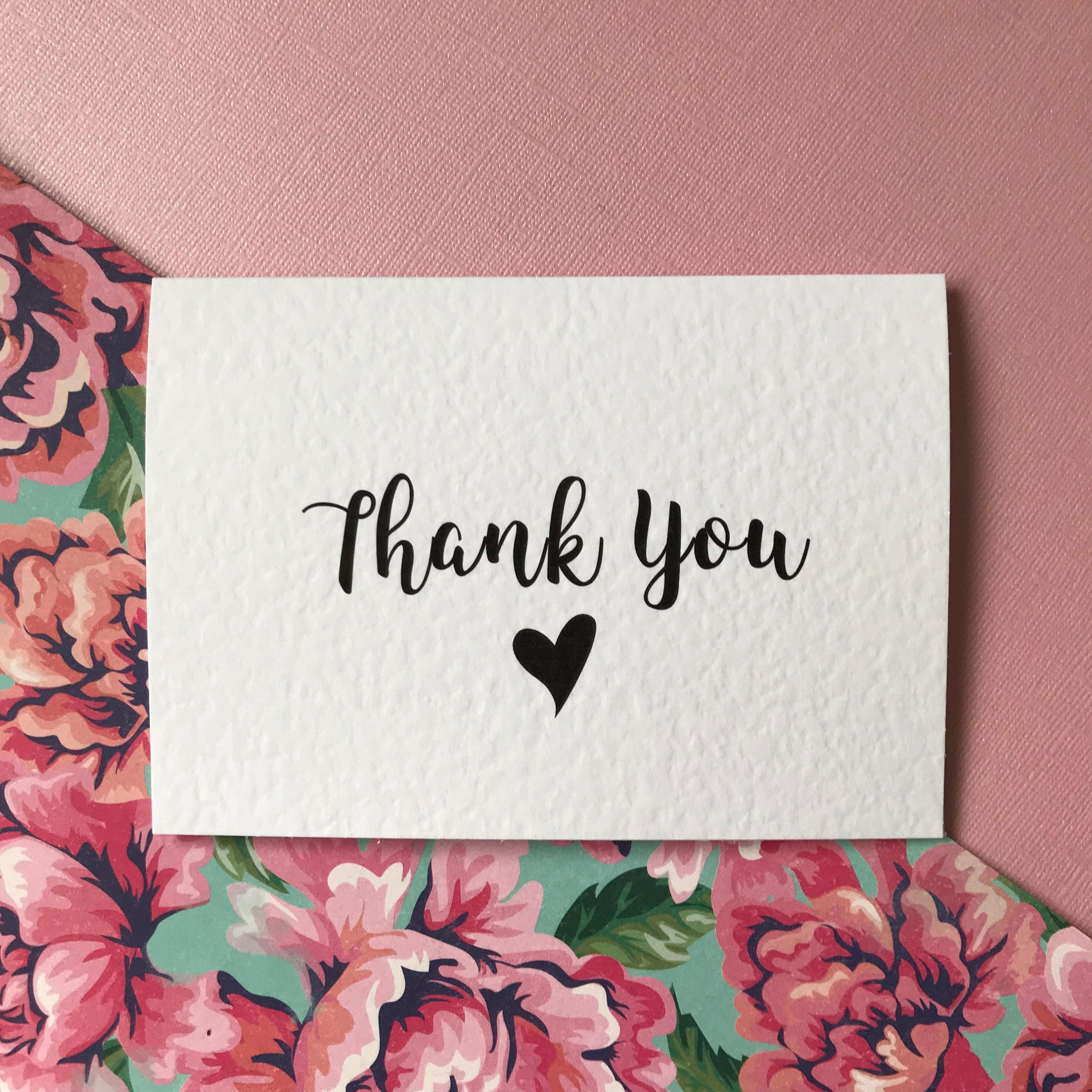 Thank You Card Black/Rose Gold Thank You Card Set/Gift