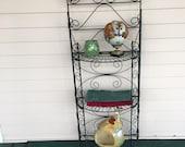 Folding Metal Shelf - Garden Shelf - Kitchen Shelf - Wire Plant Stand - Vintage - Patio or Porch Display
