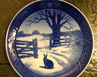 Royal Copenhagen Porcelain Plate - Hare in Winter - 1971