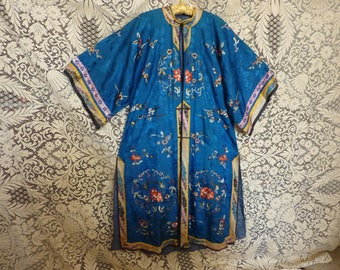 SALE Now 248. Was 285 Blue silk Chinese coat antique hand embroidered, elegantly trimmed
