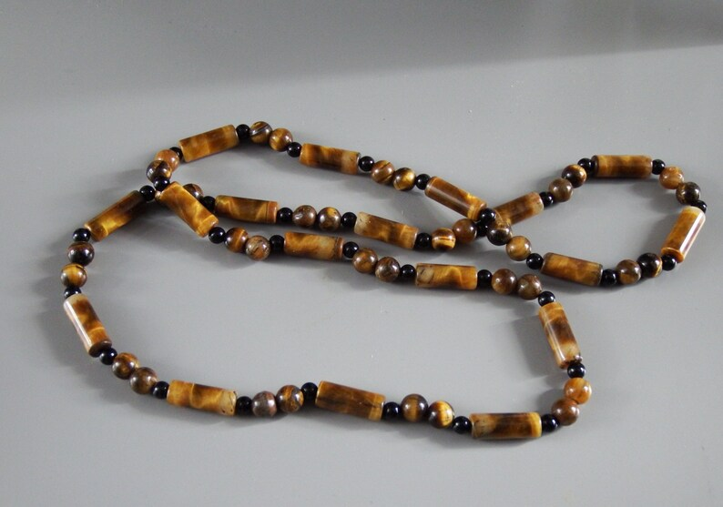Natural stones Gemstone necklace Gift for her. Tiger\u2019s Eye and onyx Brown necklace Earth colours Long necklace Beaded necklace