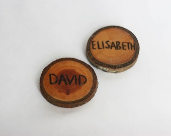 50 pieces rustic wood place cards, Wedding place holders, wood burned name holders, wedding wooden name cards