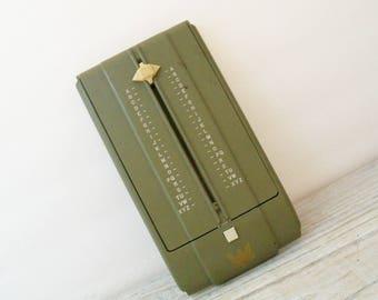 Zephyr Autodex - Rare Vintage USA Military Index Address File Box - Desk Autodex - Army Green 1930s