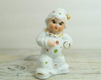 Vintage Porcelain Circus Clown Gold Accents White China Clown Figurine Green and Red Dots 1980s