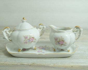 Vintage Lefton Sugar and Creamer on Tray -  Made in Japan - Hand Painted Porcelain - Gold Accents  - No7051 - 1960s