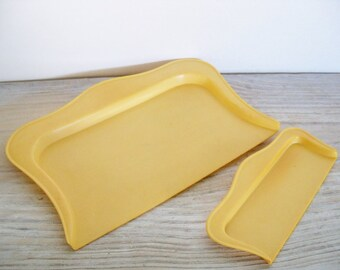Vintage Harvest Gold Celluloid Crumb Trays - Silent Butlers 1950s