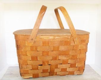 Vintage Picnic Basket - Wood Slat Basket - 2 Handled Basket - Wooden Lid - Large Picnic Basket - Brass Hinges - Brass Hardware - 1960s