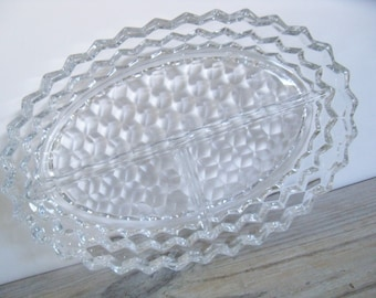 Vintage Fostoria American Crystal Glass Triple Divided Relish Candy Nut Dish 1960s