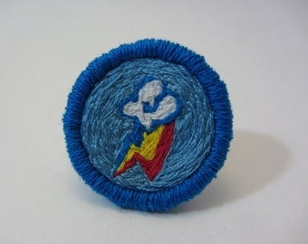 Rainbow Dash Cutie Mark Hand Embroidered Merit Badge-Style Patch