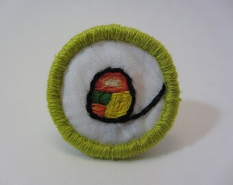 Avocado Roll Sushi Hand Embroidered Merit Badge-Style Patch