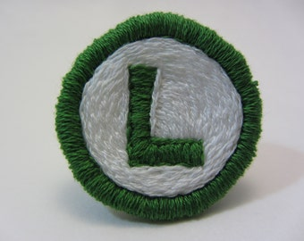 Luigi 'L' Hand Embroidered Merit Badge-Style Patch