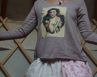 t-shirt sleeve pink long