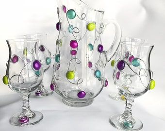 Sangria Pitcher & Glasses Set, Wine Glasses, Wine Pitcher, Stemware, Barware, Sangria Glass, Drinking Glasses, Pitcher,