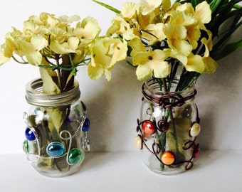Mason Jar Vase, Mason Jar Candle Holder, Wedding Centerpiece, Farmhouse Decor, Rustic Wedding, Utensil Holder, Wire Wrapped, Beaded Vase
