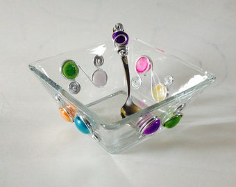 Medium Square Bowl #1- w/ Beaded Spoon,  Dip Bowl, Beaded Dish, Wire Wrapped Bowl, Serving Bowl, Wire Wrapped Utensil, Wire wrapped Spoon