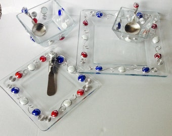 Serving Set-7 Piece, Beaded Utensils, Beaded Spoon, Wire Wrapped, Beaded Plate, Wire Wrapped Utensil, Patriotic, Beaded Bowl, July 4