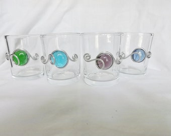 Votive Candle Holder Set of 4, Beaded Candle Holder, Wire Wrapped,Wedding, Tealight Candle, Centerpiece, Wedding Favor, Shot Glass
