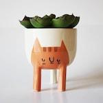 Pre-order: Small Three-legged Cat Planter in Orange Tabby (free shipping)