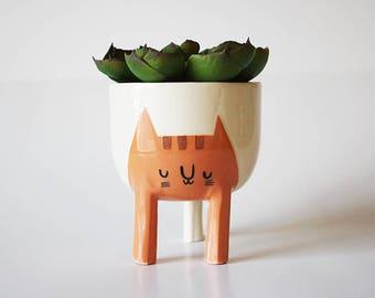 Ready to ship: Small Three-legged Cat Planter in Orange Tabby (free shipping)