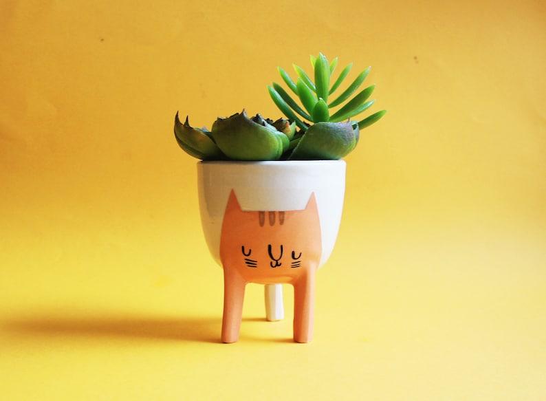 Ready to ship Small Three-legged Cat Planter in Orange Tabby image 0