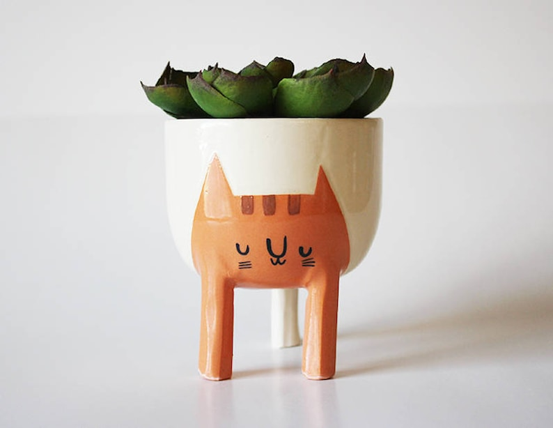 Pre-order ships October 18th: Small Three-legged Cat Planter image 0