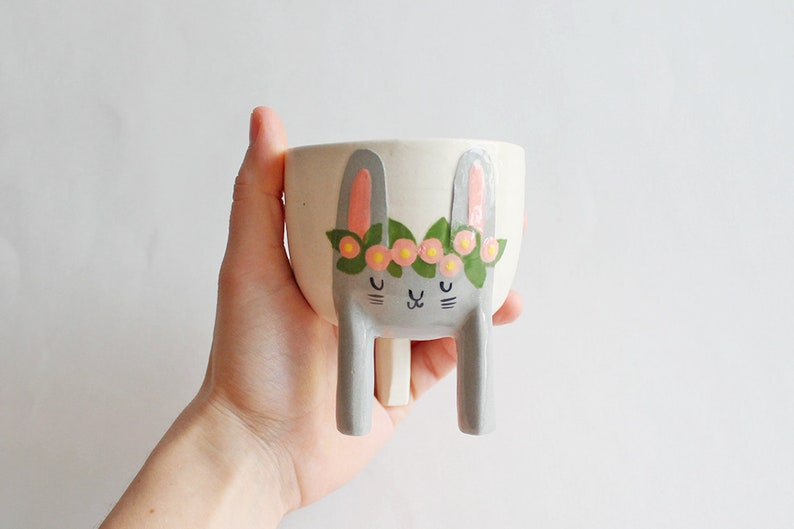 Limited Series Small Three-legged Planter with Grey Bunny image 0