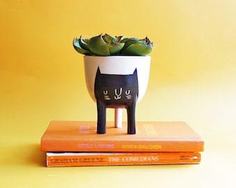 Ready to ship! Small Three-legged Planter with Black Cat on White (free shipping) by Beardbangs Ceramics!