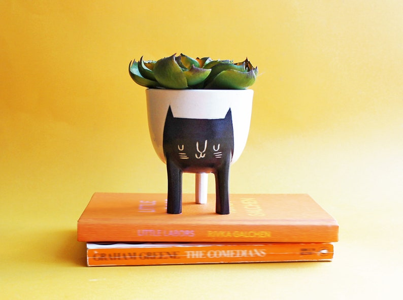 Ready to ship Small Three-legged Planter with Black Cat on image 0