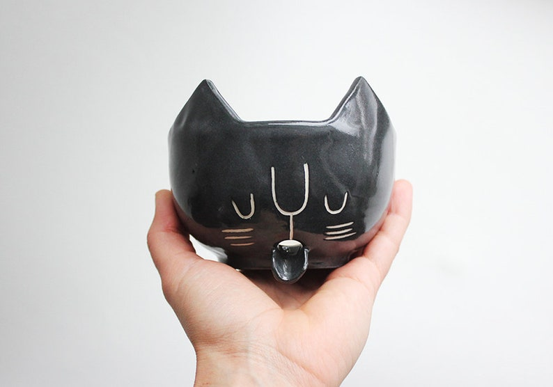 Ready to ship Black Cat Soap Dish / Sponge Holder free image 0