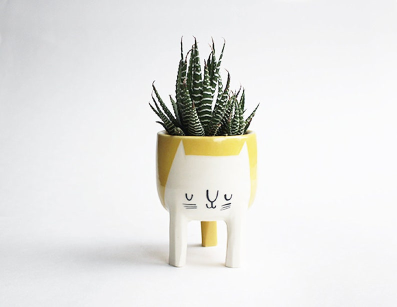 Ready to ship Small Three-legged Cat Planter in Mustard image 0