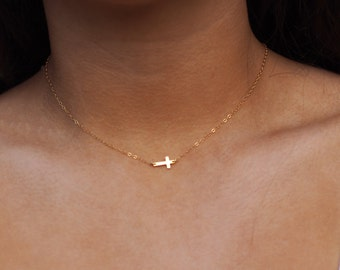 Tiny Gold Cross Necklace, Sideways Cross Necklace, Sterling Silver Cross Necklace, Gold Cross Necklace, Rose Gold Cross Necklace