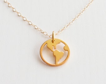 Gold WORLD MAP Necklace • Wanderlust Necklace • Globe Pendant • Americas Map Necklace • Adventure Necklace • Travel Lover Gift