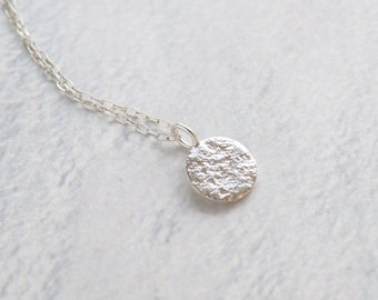 Sterling Silver TEXTURED DISC Necklace  • Minimalistic Jewelry • Layering Necklace • Everyday Silver Necklace • Delicate Necklace