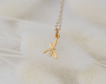 Dainty DRAGONFLY Necklace in Sterling Silver, Gold or Rose Gold • Layering Necklace • Dainty Necklace • Nature Lover Gift •