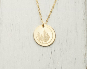 FOREST Necklace in Sterling Silver, Gold Filled, Rose Gold Filled • Trees Necklace • Evergreen Necklace • Botanical Necklace • Gift for Her