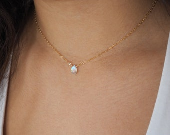 Dainty RAINBOW MOONSTONE Necklace in Sterling Silver, Gold Filled or Rose Gold Filled • Gemstone Necklace • Layering Necklace