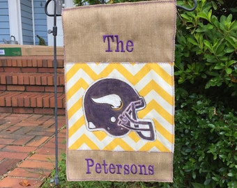 Custom Minnesota Vikings or Any team  Burlap Garden Flag