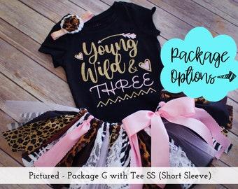 Two Wild Animal Print Jungle Birthday Outfit  Optional Fabric Tutu Top Headband  Arrow Heart Leopard Cheetah Zebra  Baby Toddler Girl