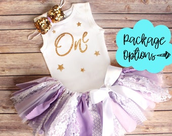 Twinkle Twinkle Little Star First Birthday Outfit // Optional Fabric Tutu Top Headband Banner // Lavender White Gold // Any Age // Baby Girl