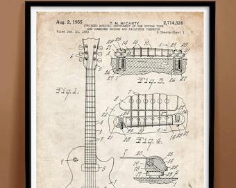 "Les Paul Guitar Poster 18x24"" Handmade Giclée Gallery Print 1955 Gibson Patent - various colors"