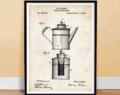 COFFEE PERCOLATOR INVENTION Poster 18x24 quot Handmade Giclée Gallery Print 1894 patent art