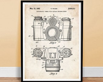 Single 8x10 Print with Black Border Frame Sauer 1962 Framed Photographic Camera with Coupled Exposure Print E