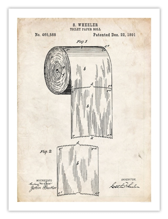Toilet Paper Roll Invention Poster 18x24 Handmade Gicl 233 E