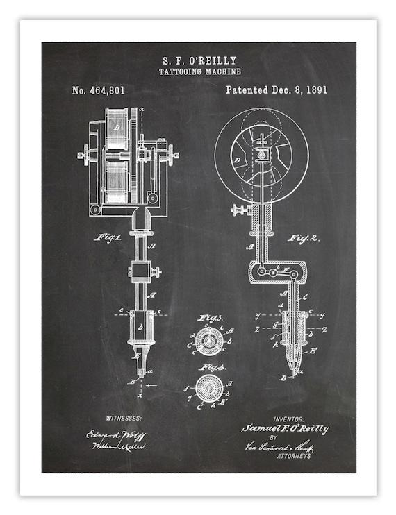 INVENCIÓN de la máquina de TATUAR cartel 18 x 24 arte