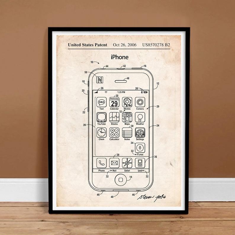 iPhone US Patent Art Apple Computer Steve Jobs Cell Phone - Printable  Instant Digital Download, Last Minute Gift Idea