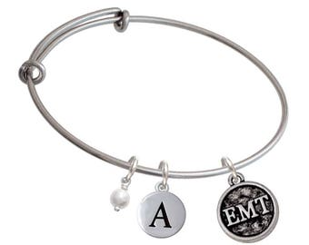 EMT Charm Bangle Bracelet - Pebble Initial & Crystal Color - Silver Plated Paramedic Jewelry, EMT BR-CT1094-Choice-F2084