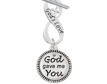 Silver Plated God Gave Me You Disc with Infinity Symbol Toggle Dangle Necklace 18 Inches Long Personalize Your Infinity Words